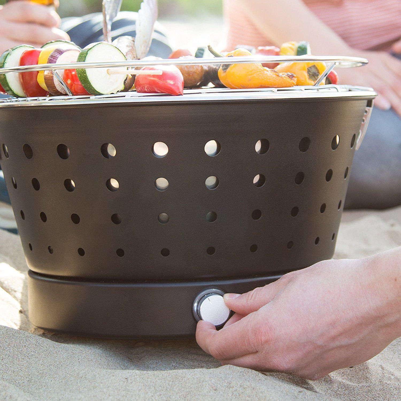 Rauchfreier Holzkohlegrill Hugo mit Aktivbelüftung von Springlane Kitchen tragbarer Edelstahl Tischgrill