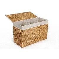 VIVANNO Wäschekorb Wäschesortierer Wäschebox 3 Fächer Wasserhyazinthe