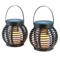 insatech Solar LED Leuchte Rattanleuchte 2er Set MINA Solarleuchte Tischleuchte
