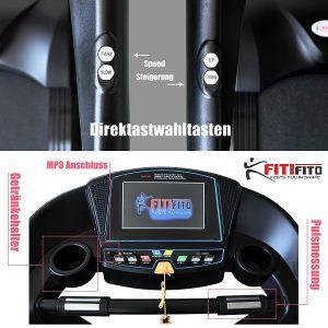 Fitifito Laufband Display mit Direktwahltasten