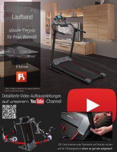 Laufband Sportstech F10 schwarz in einem Raum