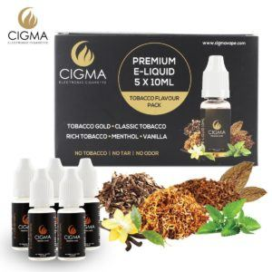 CIGMA 5 X 10ml E Liquid, 0mg (Ohne Nikotin) Klassik Tabak