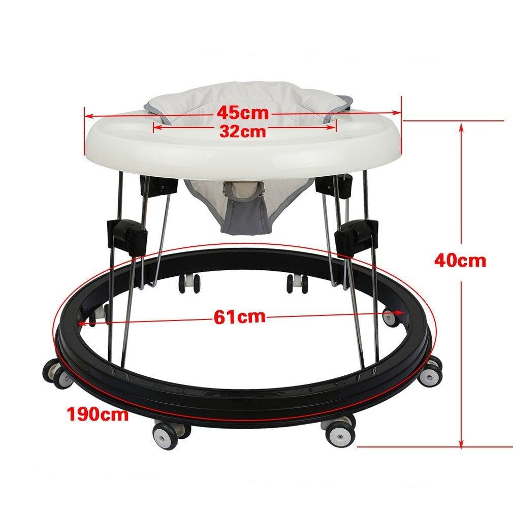 Fascol Faltbar Lauflernhilfe Babyschaukel Baby Walker Lauflernwagen Gehhilfe 36 42cm Wei%C3%9F