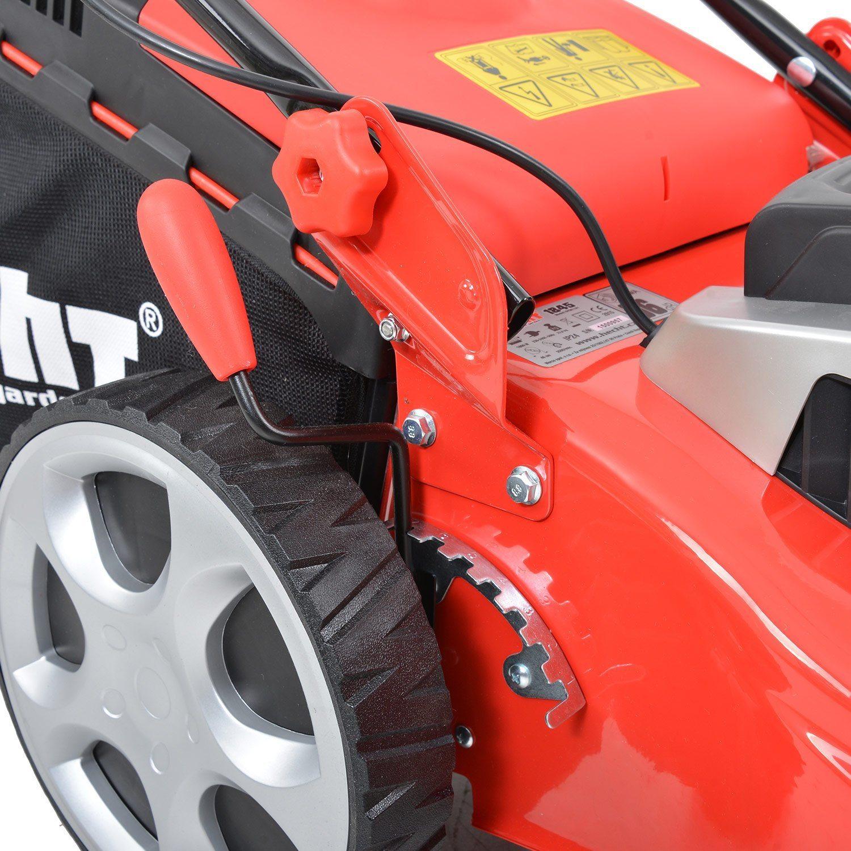 HECHT Elektro-Rasenmäher 1845 Elektro-Mäher 1800 Watt, 46 cm Schnittbreite, 7-fache Schnitthöhenverstellung 30-75 mm, 60 L Fangsack