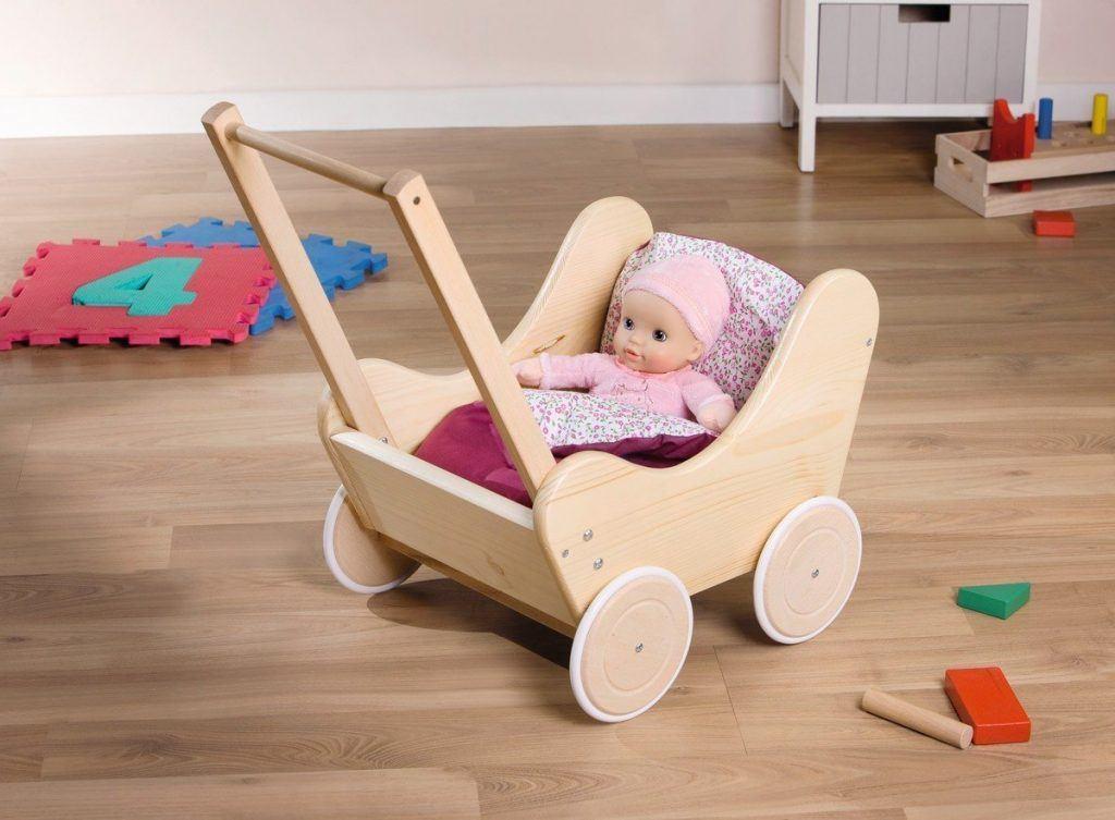 Holz Puppenwagen Lauflernwagen Mit Bettw%C3%A4sche