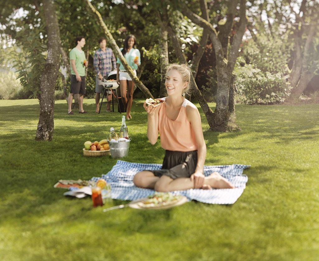 Picknick mit einem Gasgrill in Form eines Kugelgrills mit guten Freunden