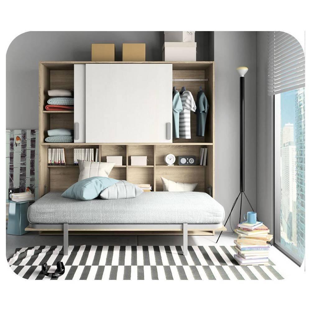 Paket Schrankbett Planet weiß und Eiche Farbe 90x190cm mit Matratze