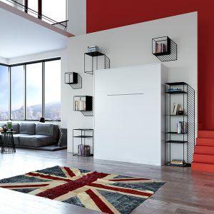 Schrankbett 160x200 weiss mit Gasdruckfedern, ideal als Gästebett - Wandbett, Schrank mit integriertem Klappbett