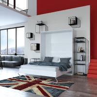 Schrankbett 160x200 weiss mit Gasdruckfedern, ideal als Gästebett
