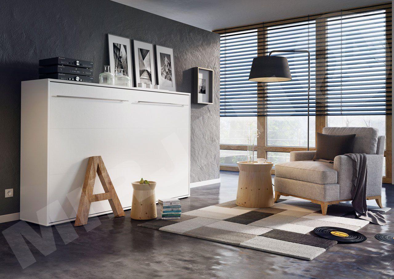 Schrankbett Concept Pro II Horizontal, Wandklappbett inkl. Lattenrost, Bettschrank, Wandbett, Schrank mit integriertem Klappbett