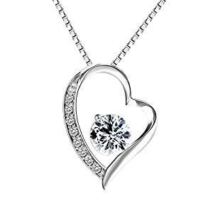 Sterling Silber Herzförmige Halskette mit weißen Zirkonia Steinen - Inkl. Schmuckschatulle