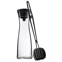 WMF Wasserkaraffe Basic 1,0l inklusiv Reinigungsbürste Höhe 29cm CloseUp-Verschluss Glas Cromargan Edelstahl Glas schwarz