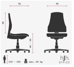 Die Abmessungen des hjh OFFICE 633000 Kinderdrehstuhl Bürostuhl KIDDY GTI-2.