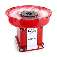 oneConcept Candyland 2 Retro-Zuckerwattemaschinen Zuckerwatte-Maschine (500W Leistung, Auffangbehälter-Durchmesser: 31 cm (Ø), Auffangbehälter-Höhe: 7 cm, inkl. Zuckerwattestab mit Zucker-Dosierer) rot