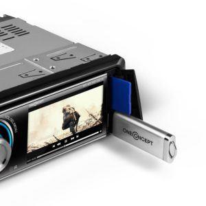 Das oneConcept MDD-150-BT Autoradio kann Musik von USB Stick und SD Karte abspielen.