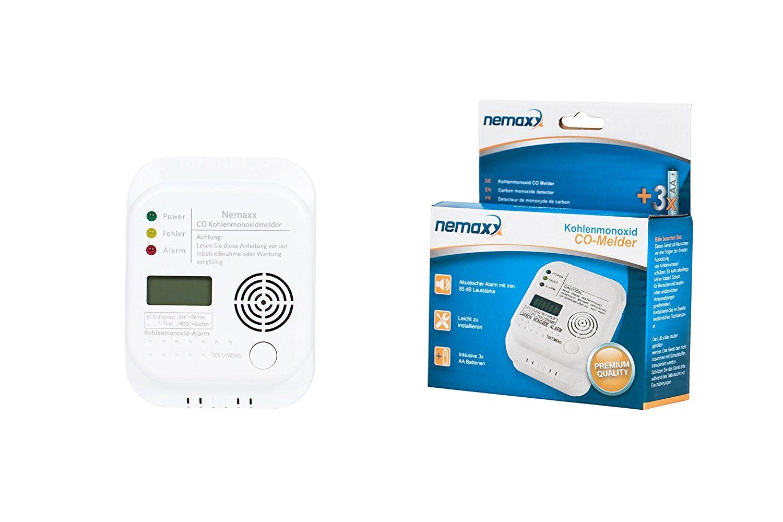 1x Nemaxx Co Melder - intelligenter Kohlenmonoxid Sensor, batteriebetriebener Warner und Alarm mit Digitalanzeige