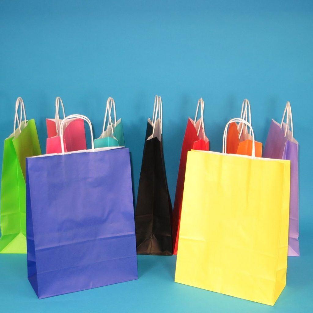 250 350 Papiertragetaschen Papiert%C3%BCten Einkaufst%C3%BCten Farbig Bunt