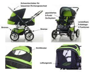 """14-teiliges-Qualitäts-Kinderwagenset-2-in-1-""""FLASH""""Kinderwagen-+-Buggy---Megaset-–-all-inklusive-Paket-in-Farbe-SCHWARZ"""