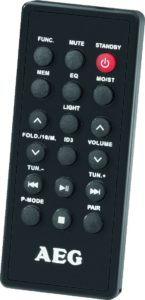 Der AEG SR 4359 BT Bluetooth Stereoradio ist mit Fernbedienung.