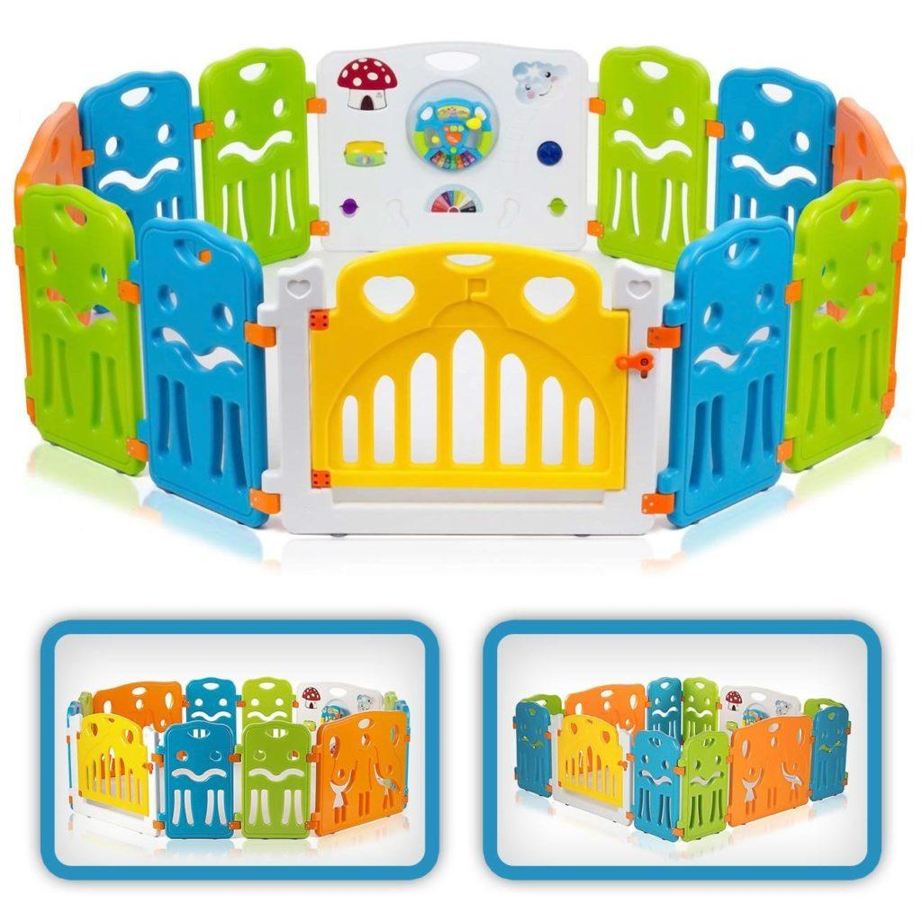 BABY VIVO Laufgitter Laufstall Baby Absperrgitter Krabbelgitter Schutzgitter F%C3%BCr Kinder Aus Kunststoff Mit T%C3%BCr Und Spielzeug Colors XL