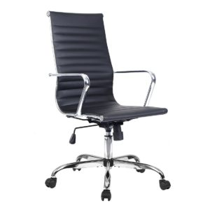 Costway Bürostuhl Bürodrehstuhl Schreibtischstuhl Chefsessel PU Stuhl Arbeitshocker Drehstuhl ergonomisch Chefstuhl 2 Farben (Schwarz)