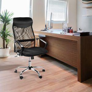 Design Bürostuhl mit Kopfstütze, Netzrücken, Wippfunktion & Armlehne - ergonomisch, höhenverstellbar
