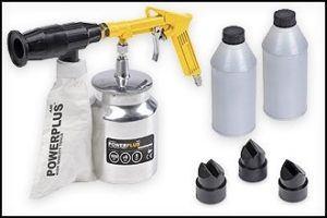 Druckluft Luftdruck-Schallabstrahlend, 2 kg Sand inklusive Gerät und Behälter