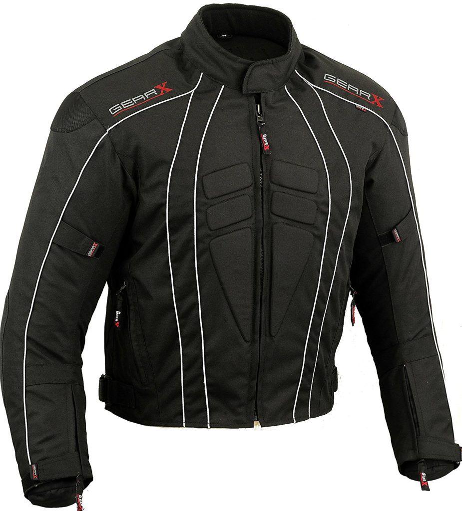 Dry Lite Reflektierende Motorradjacke Wasserdicht Schutz Schwarz S