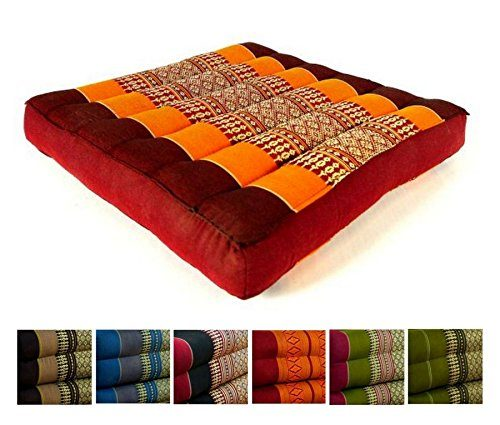 Kapok Sitzkissen 35x35x6,5cm der Marke Asia Wohnstudio, optimal als Stuhlauflage oder Meditationskissen, Bodenkissen bzw. Stuhlkissen