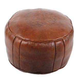 Marokkanisches Ledersitzkissen Poufs Tabaa ø 50cm orientalisches Leder-Kissen Fusshocker Sitzkissen (braun)