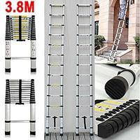 Meditool Klappleiter Anlegeleiter Teleskopleiter Mehrzweckleiter Stehleiter Ausziehbar Klappbar 150 kg aus Aluminium Teleskop-Design ( mit Rutsch-Gummi und Stahl-Sicherungsstiften ) (3.8M Teleskopleiter)
