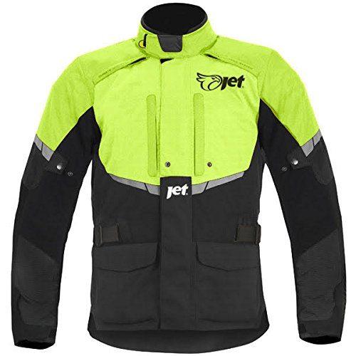 Motorradjacke Textil Wasserdicht Winddicht Mit Protektoren Schwarz Fluoreszierend.