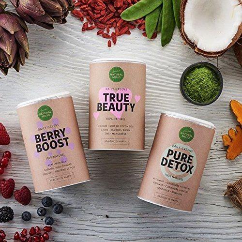 Natural Mojo True Beauty Superfood Pulver 100 Nat%C3%BCrlich Vegan Glutenfrei Und Laktosefrei U.a. Mit Granatapfel Kokos Goji Johannisbeere Bambus Traube Zink Mangan Und Weiteren N%C3%A4hrstoffen.