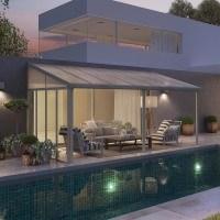 Seitenwand W 3 für Palram Alu Terrassenüberdachung 295cm weiß