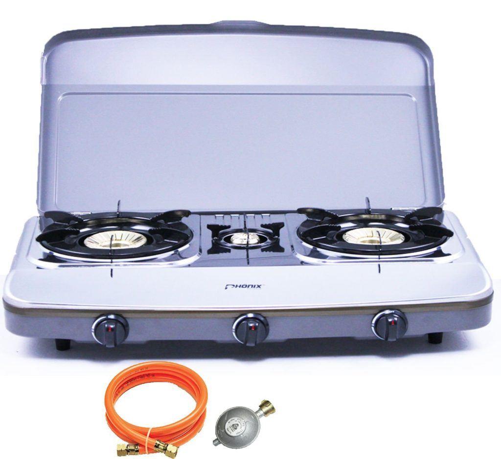 Ph%C3%B6nix PH 3DX Edelstahl Gaskocher 3 Flammig Mit Deckel Propangas Campingkocher Inkl. Gasschlauch Regler Set