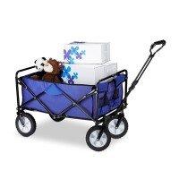 Relaxdays Bollerwagen faltbar, Handwagen, Einlegeboden, 360 ° drehbar, H x T x B: ca. 55 x 83 x 51,5 cm, blau [Energieklasse a_plus_plus]