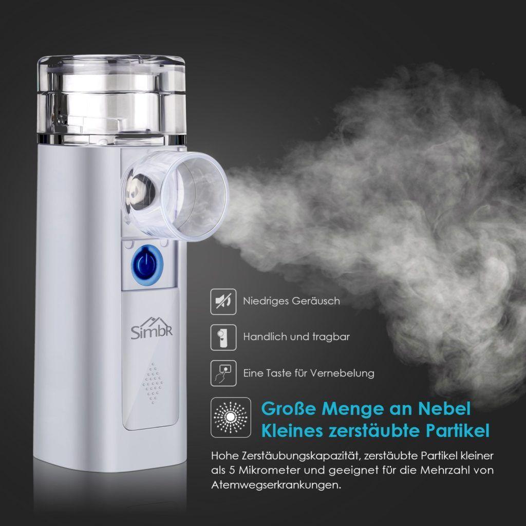 SIMBR Tragbar Inhalator Vernebler Inhalationsger%C3%A4te Mit Mundst%C3%BCck Und Maske F%C3%BCr Kinder Und Erwachsene