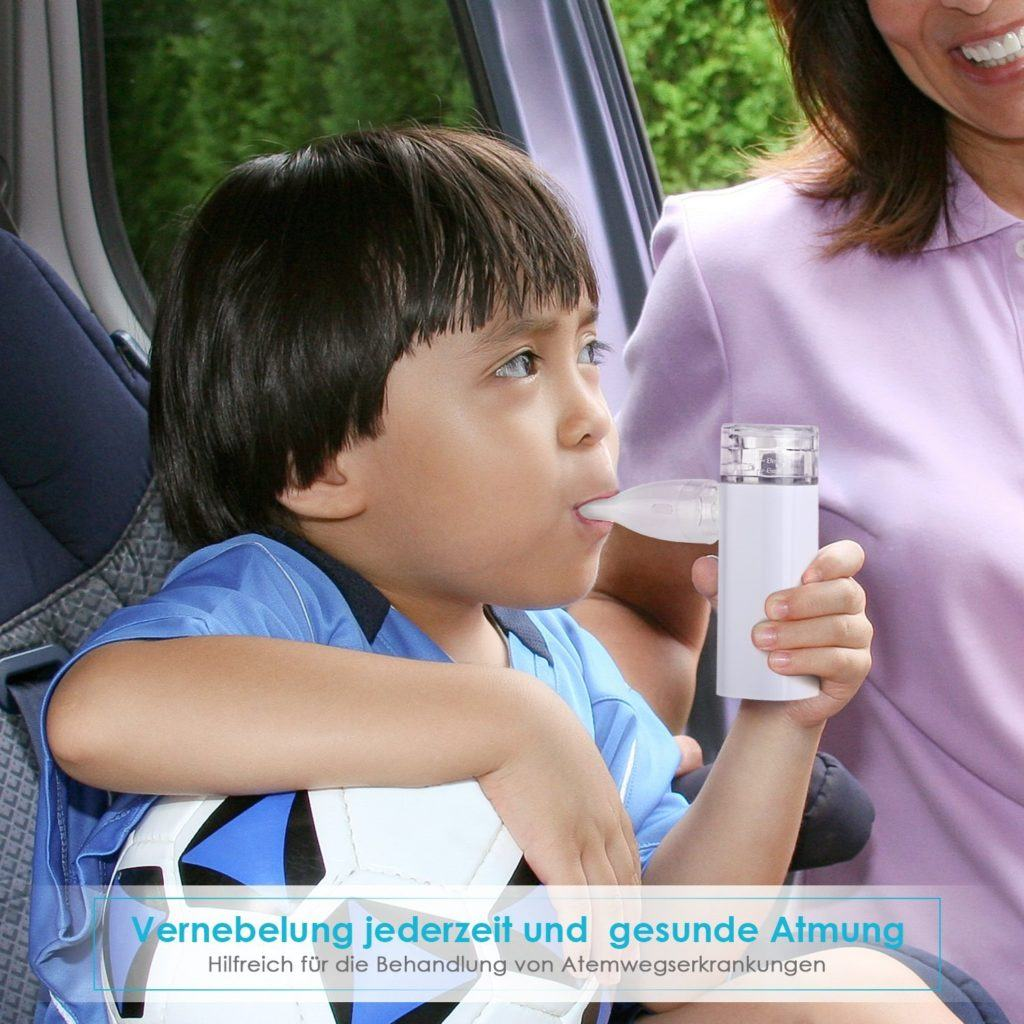 SIMBR Tragbar Inhalator Vernebler Inhalationsger%C3%A4te Mit Mundst%C3%BCck Und Maske F%C3%BCr Kinder Und Erwachsene.