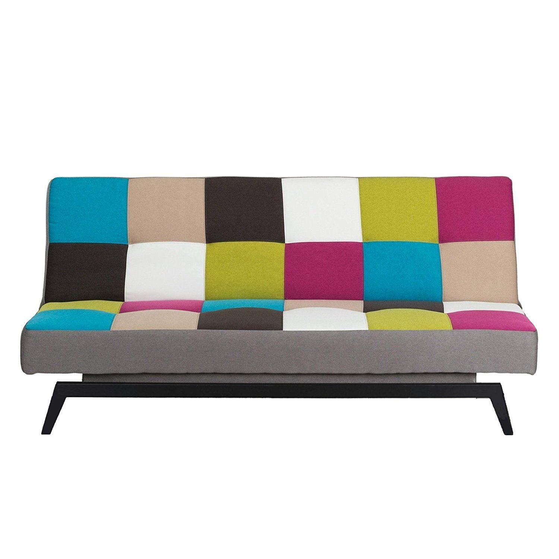 Schlafsofa bunt multicolor - Bettsofa Gästebett Bettcouch Schlafcouch Sofa Couch Bett Kindersofa Stoff