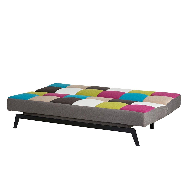 Schlafsofa bunt multicolor - Bettsofa Gästebett Bettcouch Schlafcouch Sofa Couch Bett
