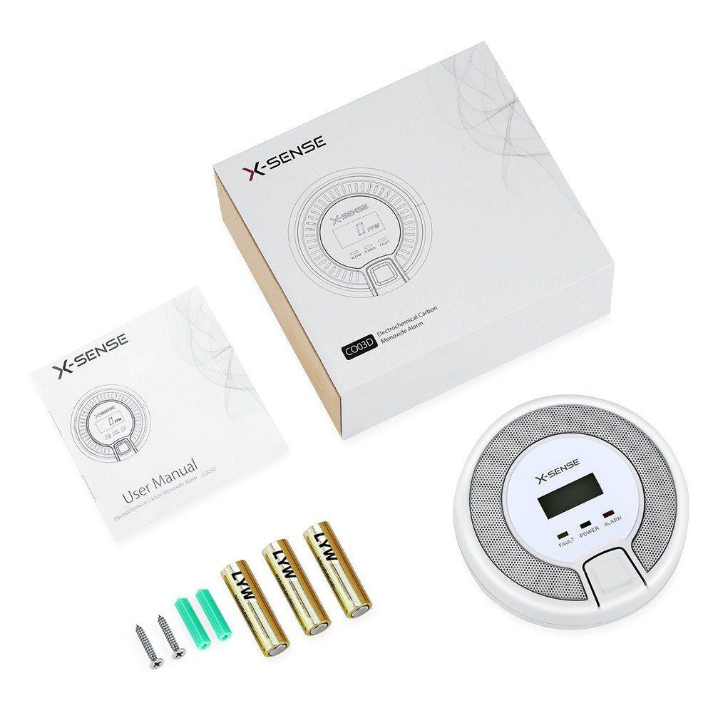 X-Sense CO03D CO Melder Kohlenmonoxid CO-Detektor Batteriebetrieben Sensor und Alarm mit Digitalanzeige und Höchstwertspeicherung Verpackung