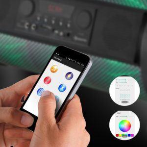 Für die Steuerung des auna Thunderstorm Bluetooth Lautsprecher Box gibt es eine App.