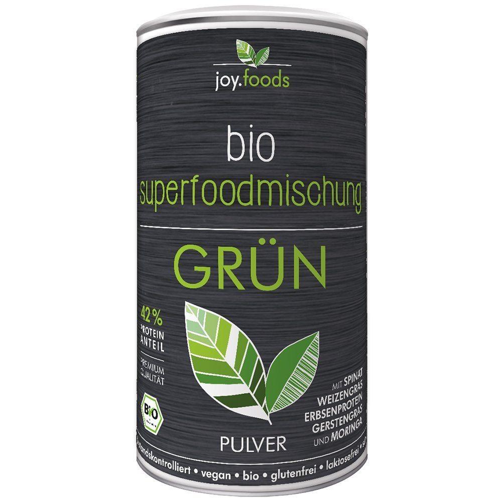 Joy.foods Bio Superfood Und Proteinmischung Gr%C3%BCn 180 G Mit Spinat Weizengras Erbsenprotein Gerstengras Und Moringa 1