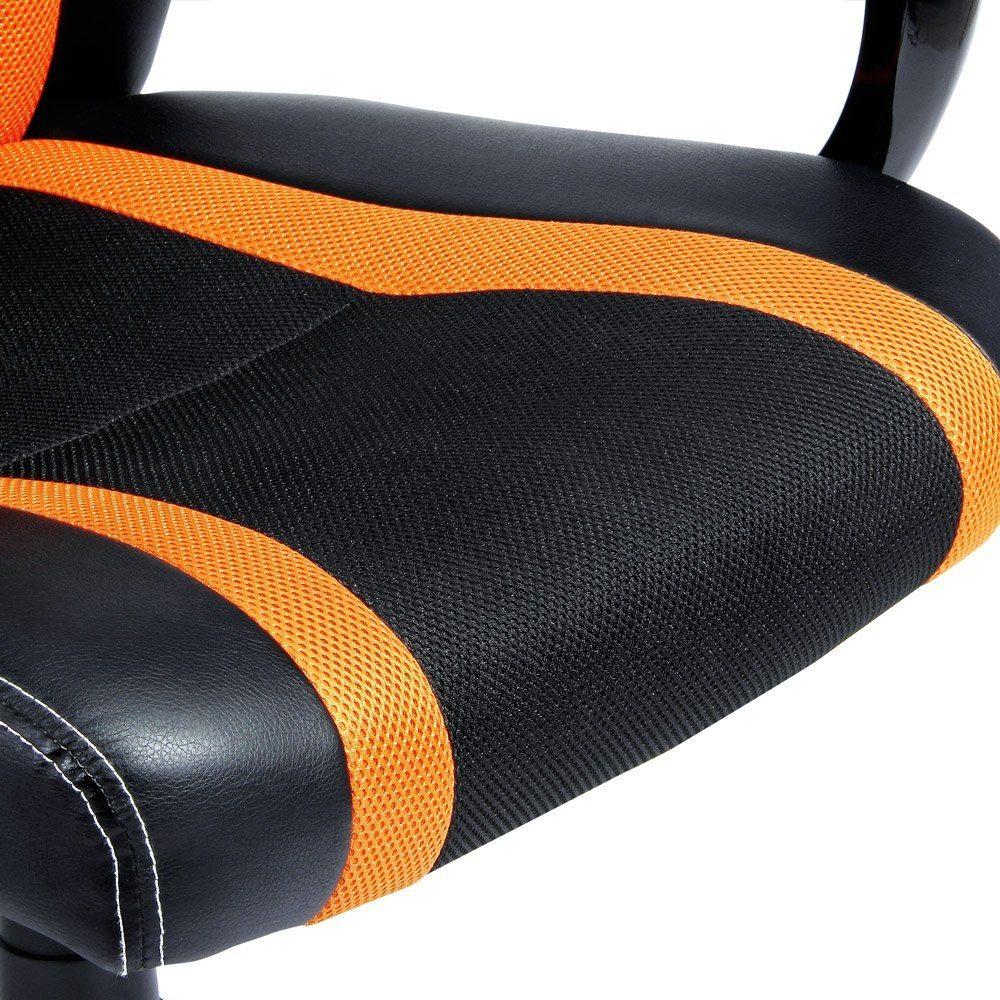 Bürosessel Deluxe-Orange Sitzfläche Gewegbe und Leder