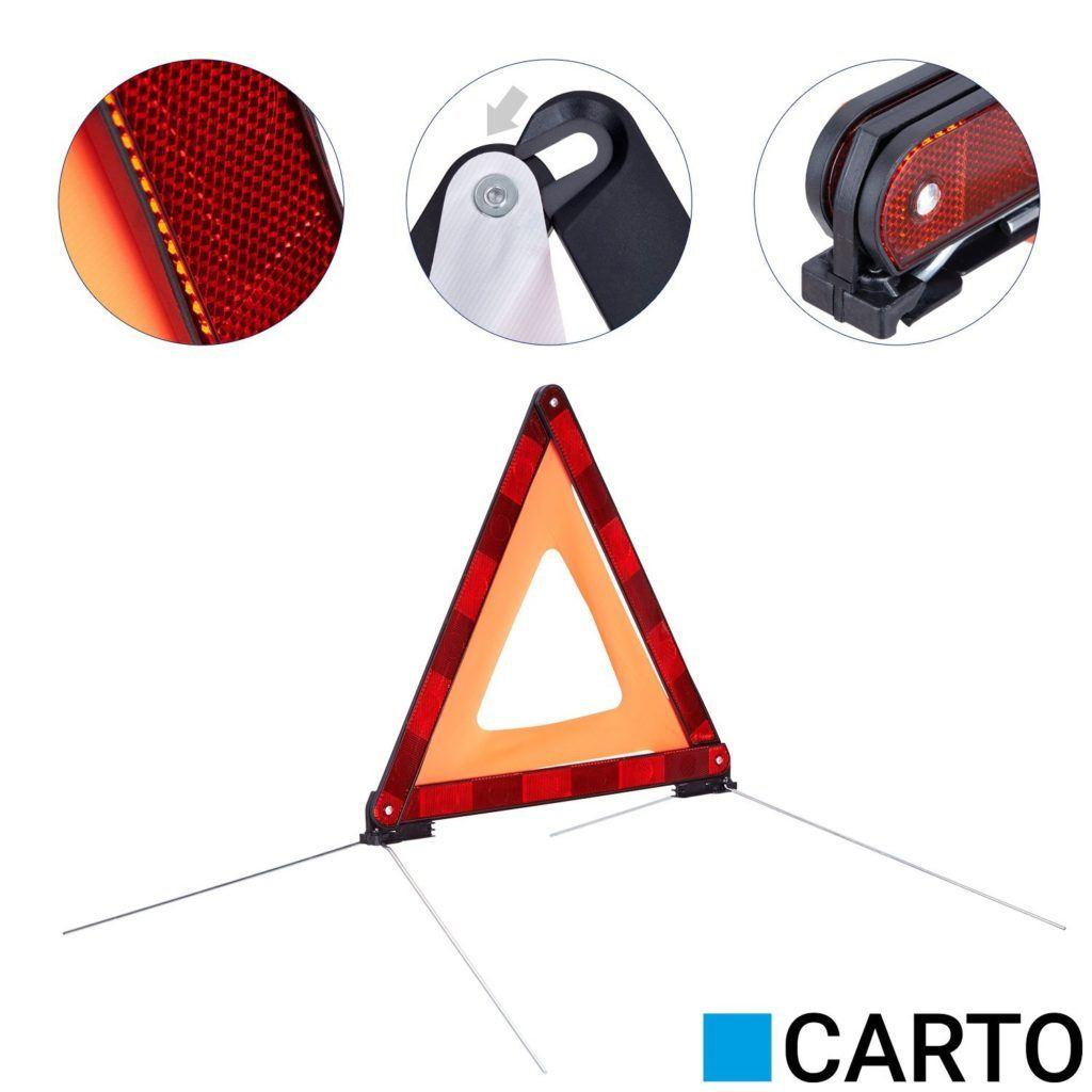 CARTO Warndreieck F%C3%BCr Kraftfahrzeuge Mit Kunststoffk%C3%B6cher Sicherung Von Unfall Und Gefahrenstellen