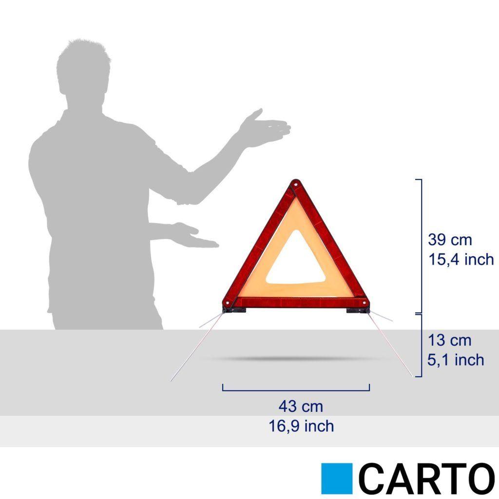 CARTO Warndreieck F%C3%BCr Kraftfahrzeuge Mit Kunststoffk%C3%B6cher Sicherung Von Unfall Und Gefahrenstellen..