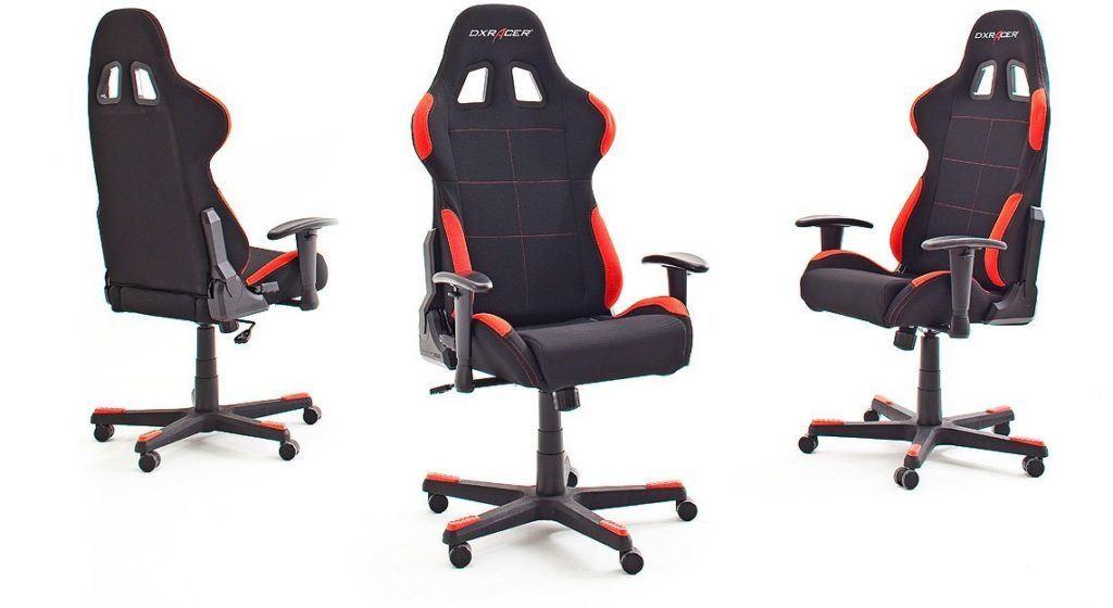 Drei Bürosessel DX Racer 1 Gamingstühle rot schwarz