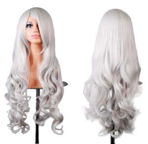 Doramior ® 32 80cm Spiral Curly Cosplay Perücke (Weiß)