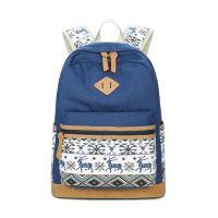 Druckmuster-Segeltuch-Mädchen-Rucksack,-leichter-Weinlese-Rucksack-Schule-Beutel-Spielraum-beiläufiger-Laptop-Teenager-Mädchen-Schultasche