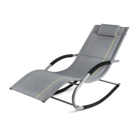 Homekraft JAWA Rock Gartenliege Sonnenliege Schaukelliege Relaxliege Liegestuhl Schaukelstuhl (Grau)